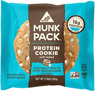 product image for Munk Pack Coconut White Chip Macadamia Protein Cookie with 16 Grams of Protein | Soft Baked | Vegan | Gluten, Dairy and Soy Free | 1 Pack
