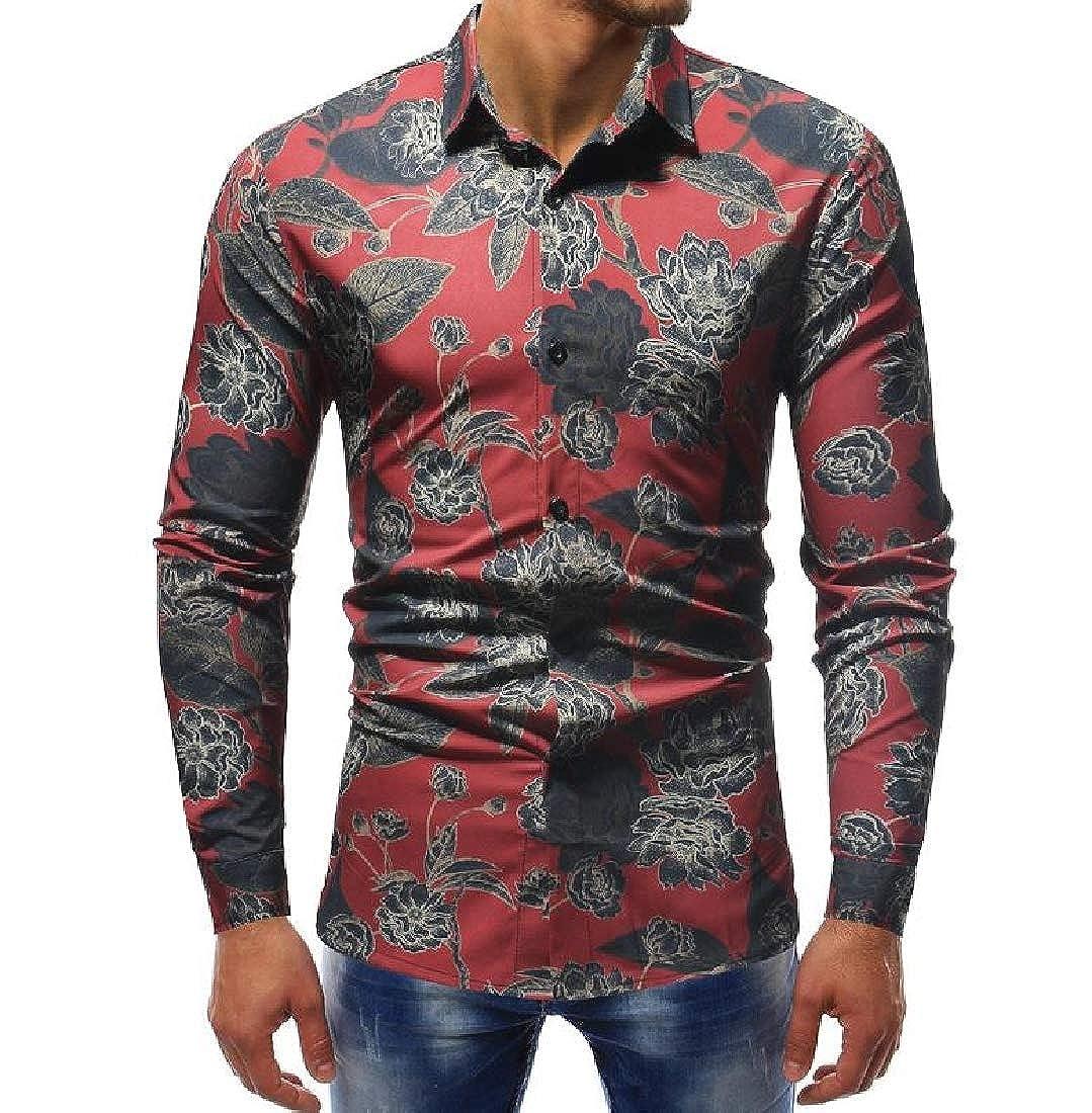 CuteRose Men Classic Floral Plus-Size Long-Sleeve Casual Loose Dress Shirt