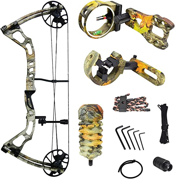 iGlow 15-70 lbs Black/Green/Camouflage Camo Archery Hunting Compound Bow 175 150 60 55 30 lb Crossbow