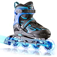 2pm Sports Vinal Kids Adjustable Flashing Inline Skates, All Wheels Light Up, Fun Illuminating Rollerblades for Girls and Boys, Start Roller Skating Today!