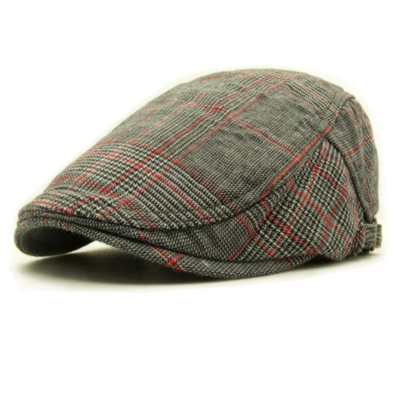 Mens Gray Plaid Cotton Beret Flat Caps Fashion Retro Casual Painter Hats Adjustable
