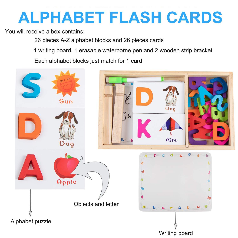 Jacootoys 26 st/ücke Alphabet Flash Karten Holz ABC Brief Karten Vorschule Lernspielzeug Fr/üherziehung W/örter Spielzeug mit Schreibtafel Geschenk f/ür Kleinkinder