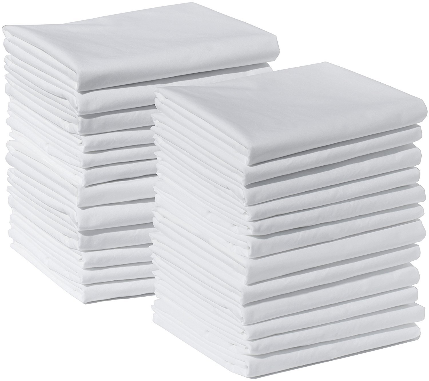 Bulk Pack of 24 King Size Pillowcases, White 300 Thread Count, 20''x40'' Solid White 2 Dozen, Perfect for Physical Therapy Clinics, Hotels, Camps