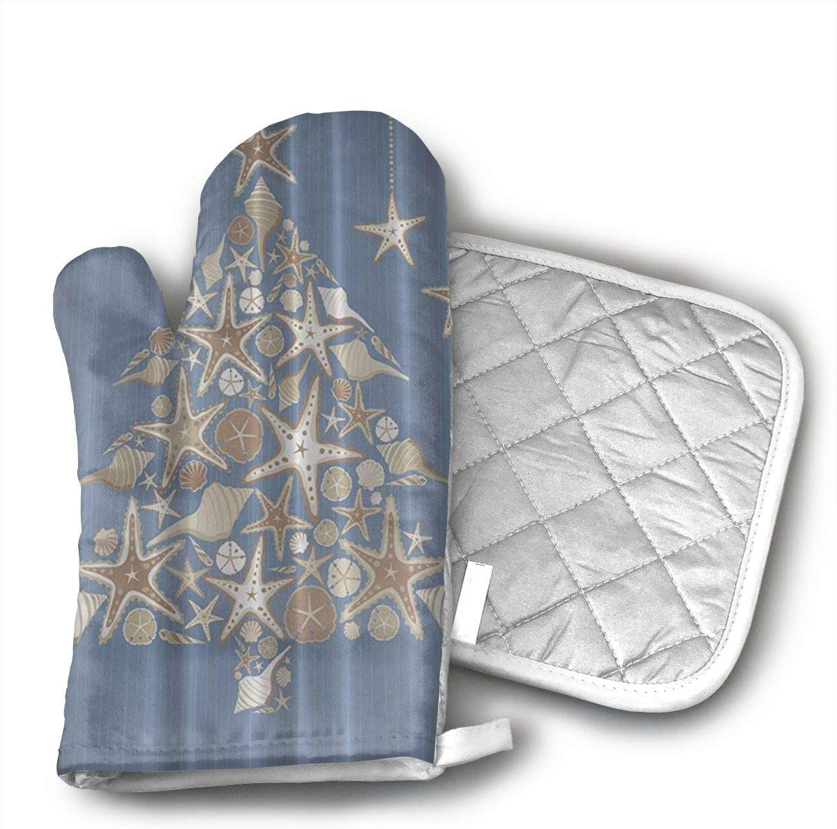 Wiqo9 Seashell Beach Christmas Oven Mitts and Pot Holders Kitchen Mitten Cooking Gloves,Cooking, Baking, BBQ.