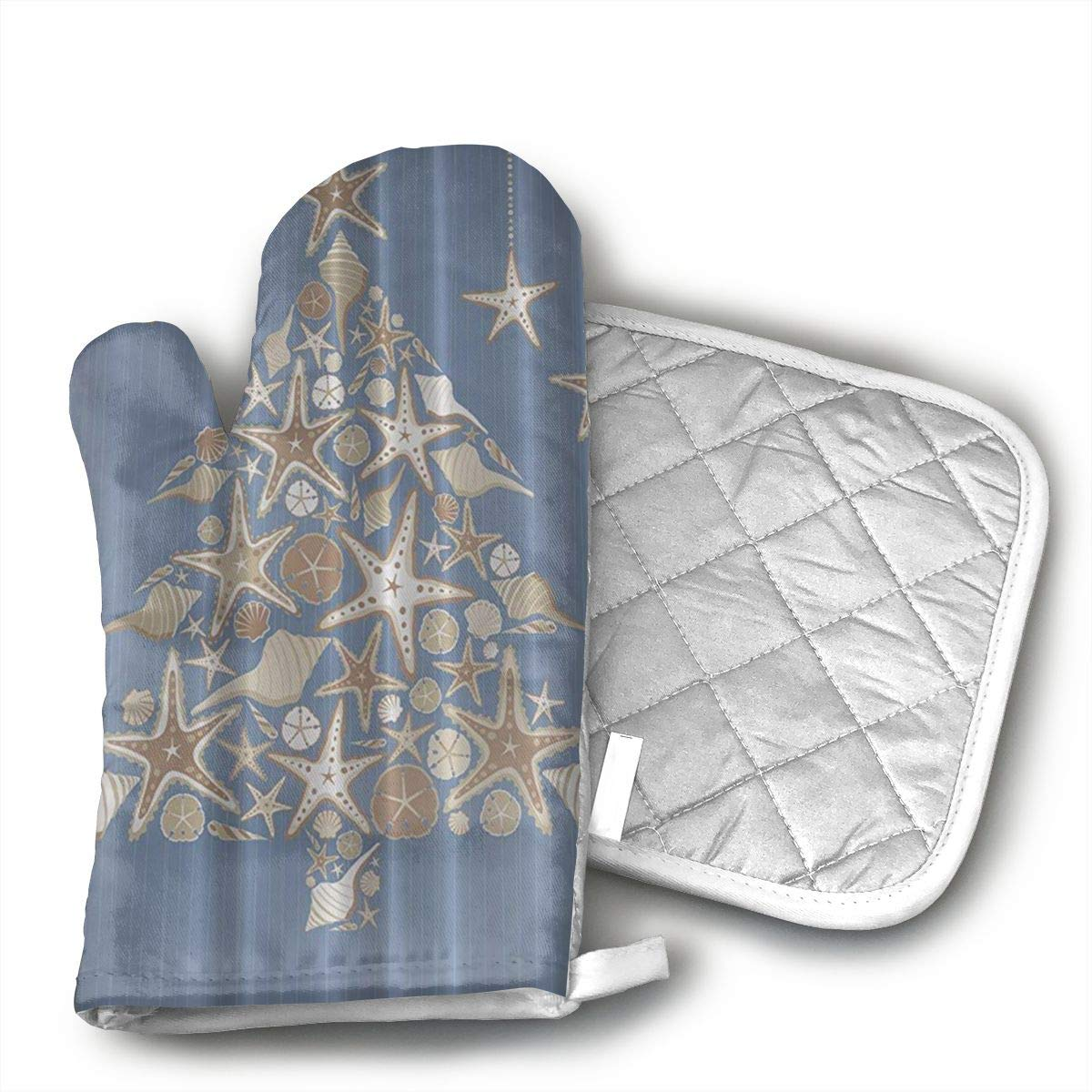 UYRHFS Seashell Beach Christmas Oven Mitts and Pot Holder Kitchen Set with, Heat Resistant, Oven Gloves and Pot Holders 2pcs Set for BBQ Cooking Baking