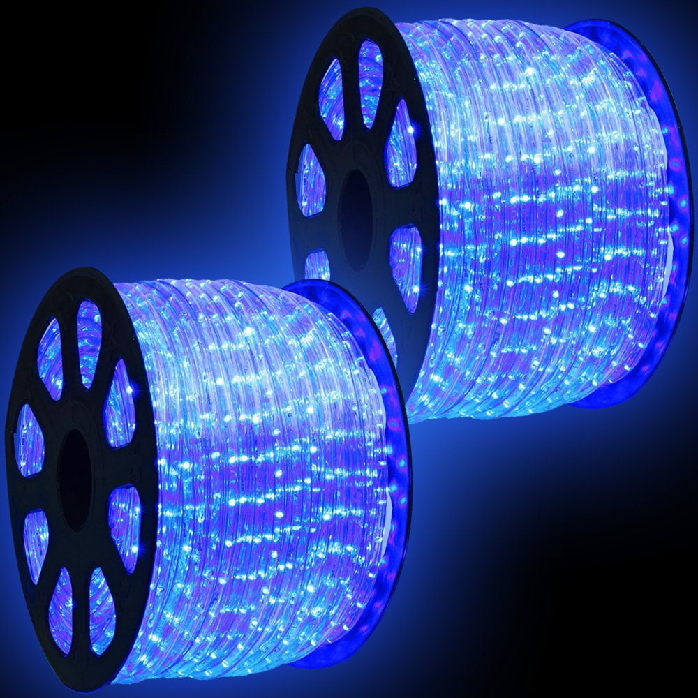 WYZworks 300' feet Blue LED Rope Lights - Flexible 2 Wire Accent Holiday Christmas Party Decoration Lighting by WYZworks