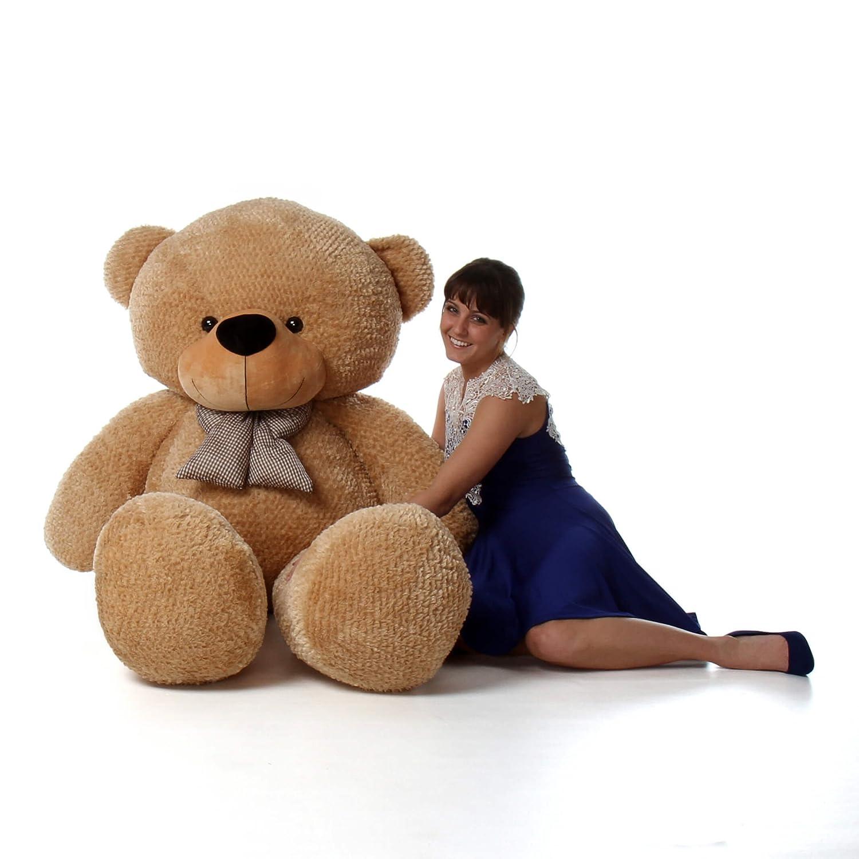 amazon com 6 foot life size teddy bear amber brown color huge