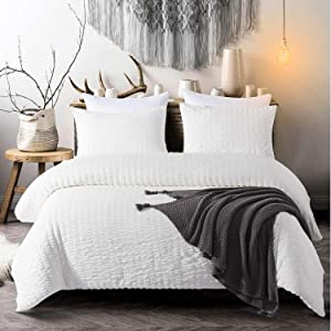 Cozyholy Seersucker Duvet Cover Set 3 Pieces Nature Textured Style Soft Lightweight Water-Washed Microfiber Bedding Set with Zipper and Corner Ties (White, Queen)