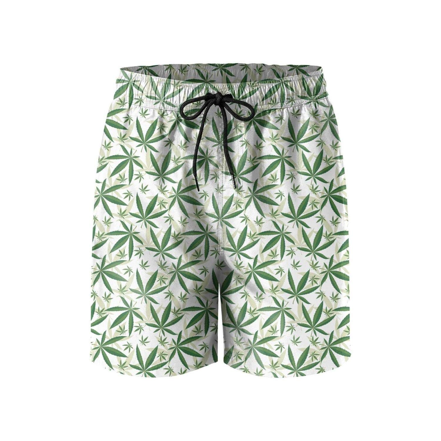 LKIMNJ Mens Cannabis White backgroud Shorts Lightweight Casual