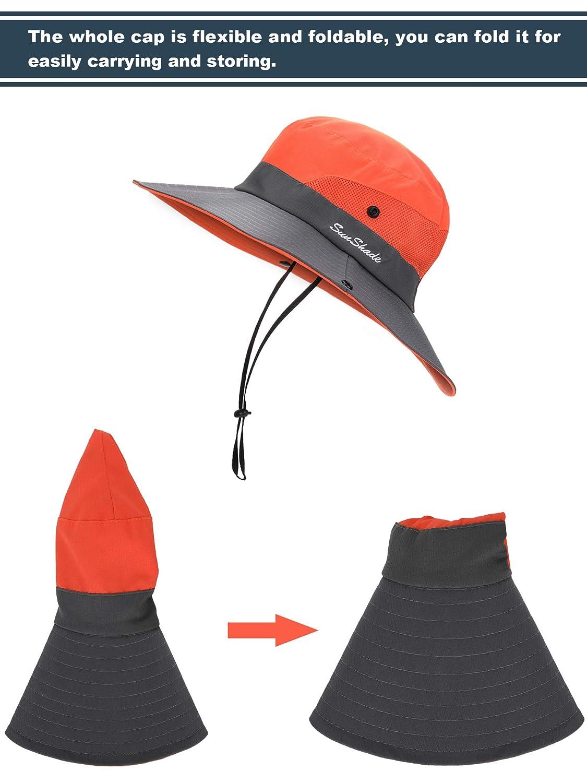 Norme 2 St/ück Damen Sonnenhut Faltbare UV Schutzkappe Beach Fishing Mesh Cap mit Pferdeschwanz Loch Und Breiter Krempe Rot Und Orange