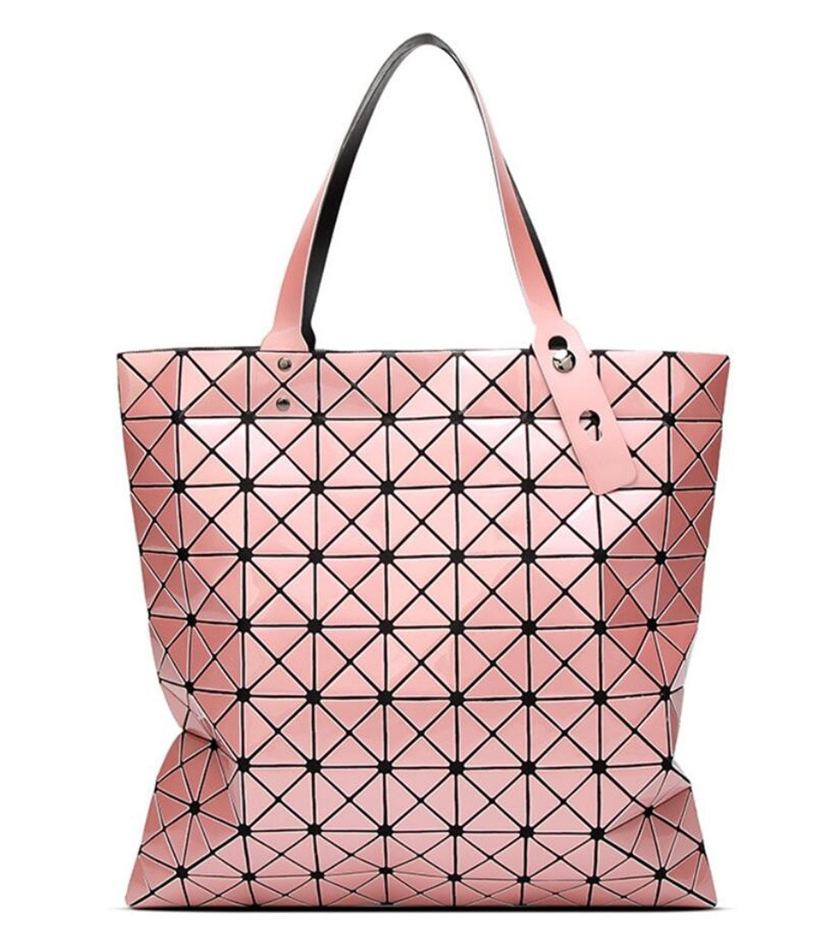 Kayers Sulliva Womens Fashion Geometric Plaid Tote Bag PU Leather Shoulder Bag Top-handle Handbags Large Pink