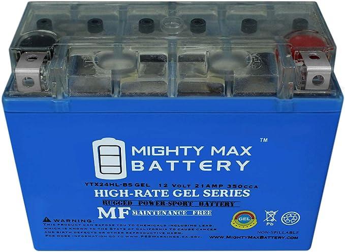 Mighty Max YTX24HL-BSGEL 12V 21AH 350CCA GEL BATTERY 12V 4Amp Charger