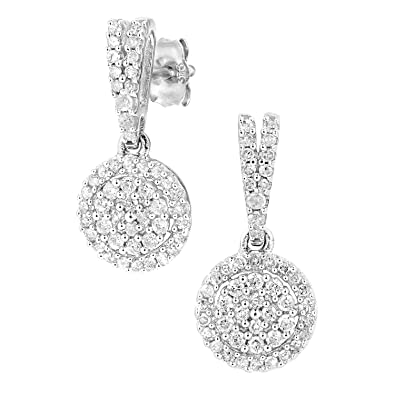 33c579dcc Naava Women's 9ct White Gold Diamond Cluster Earrings PE05657W ...
