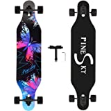 PINESKY 41 Inch Longboard Skateboard 8 Ply Natural Maple Complete Skateboard Cruiser for Cruising, Carving, Free-Style…