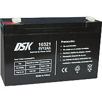 DSK 10321 - Batería Recargable de Plomo Ácido de 6V y 12Ah Ideal para Coches y Motos Eléctricos para Niños, Sistemas SAI…