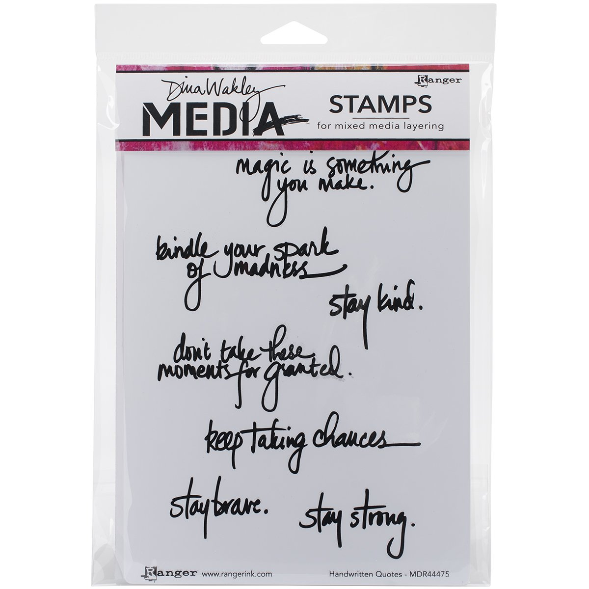 Ranger Dina Wakley Media Cling Stamps 6 by 9-Inch, Handwritten Quotes MDR-44475