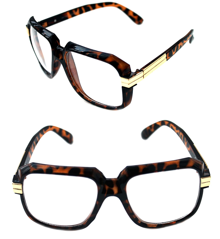 a74644118387 Brown gold Men's Men's Men's Hip Hop 80's Gazelle Vintage Clear Lens ...