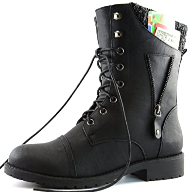 Amazon.com | DailyShoes Womens Military Up Buckle Combat Boots ...