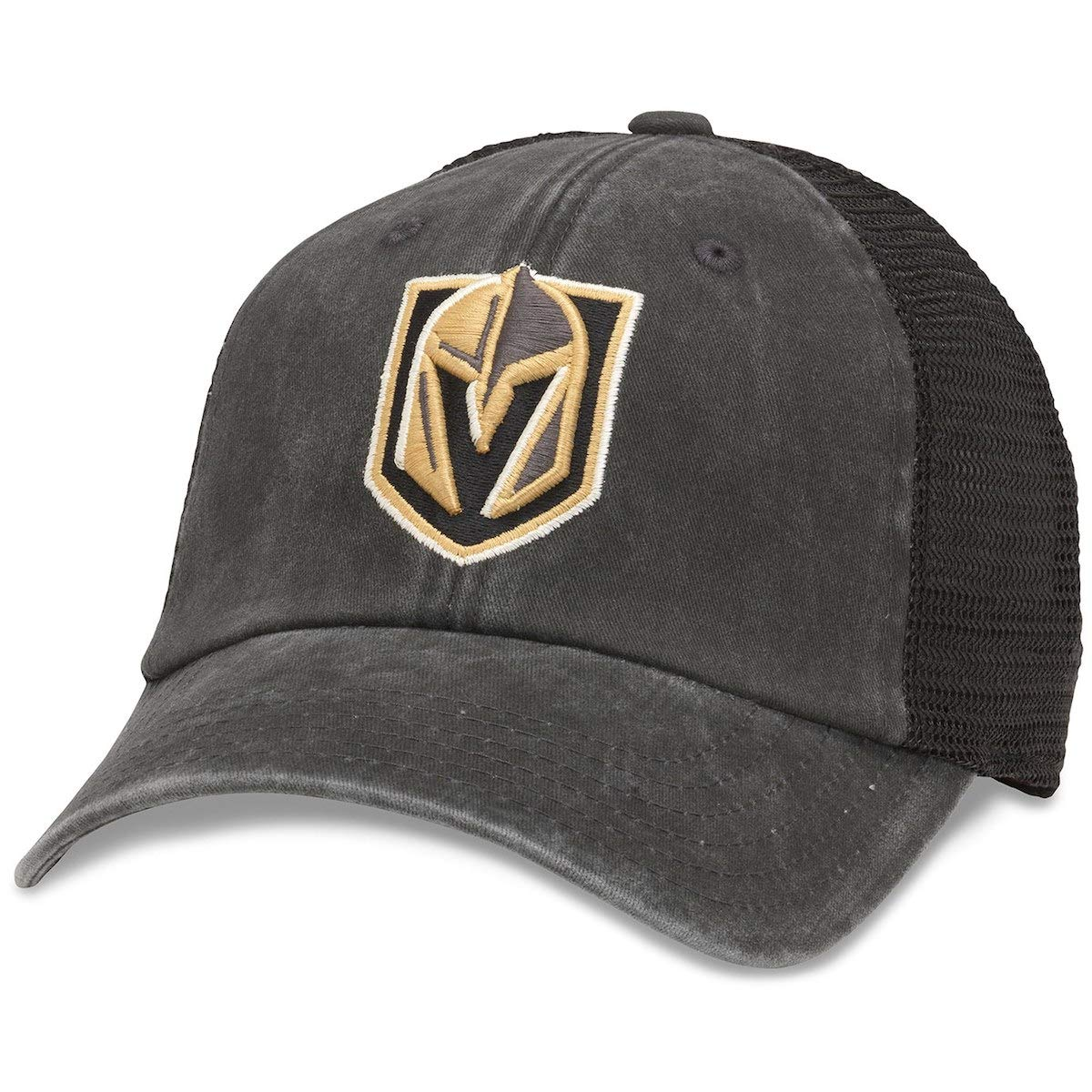 American Needle Vegas Golden Knights Raglan Bones Mesh Back Trucker Adjustable Strapback Hat