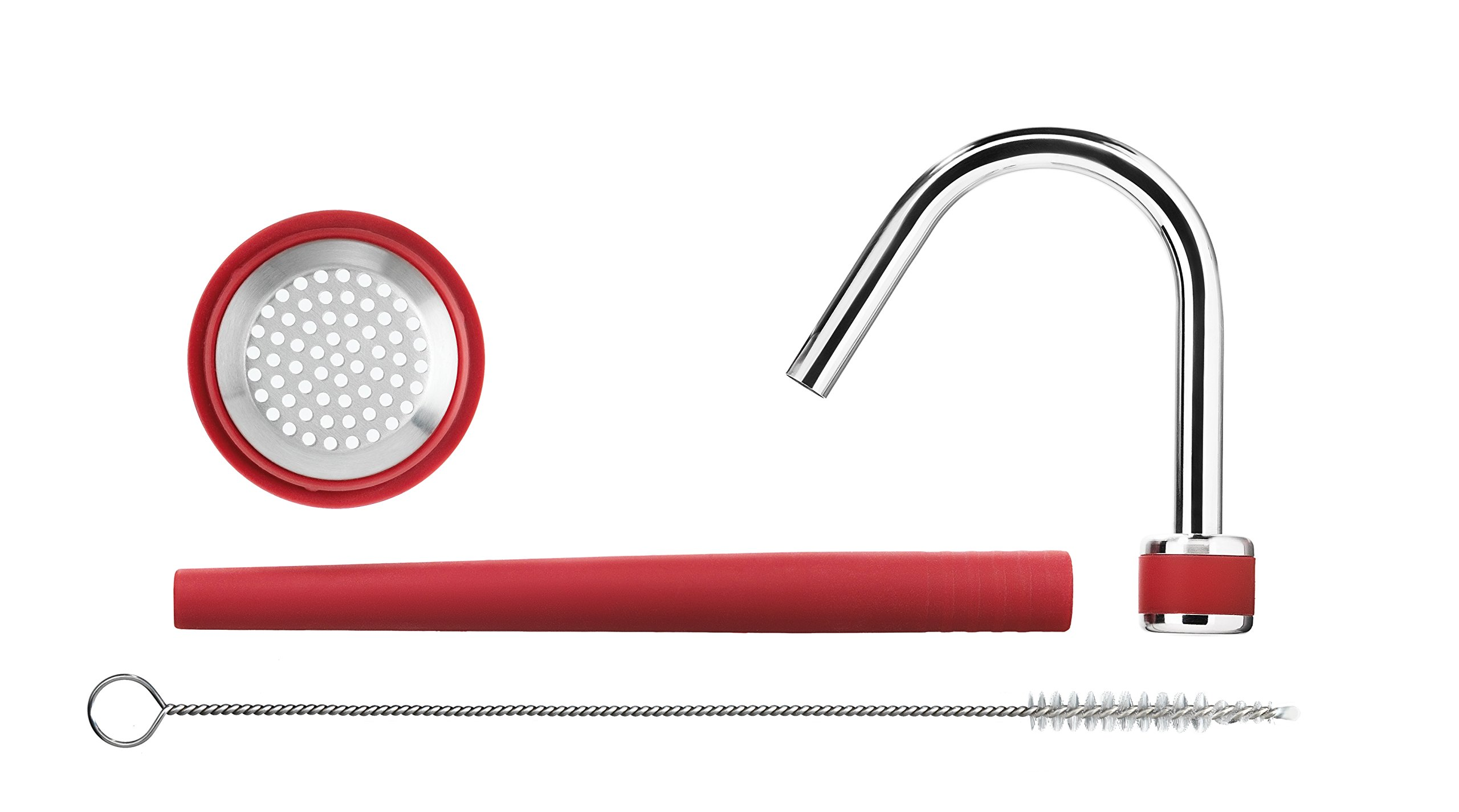 ISI Rapid Infusion 1 Includes red silicone and stainless steel sieve gasket, stainless steel ventilation tube, red silicone tube, and cleaning brush Infuse flavors into your favorite foods Works with iSi Gourmet Whip! cream whipper