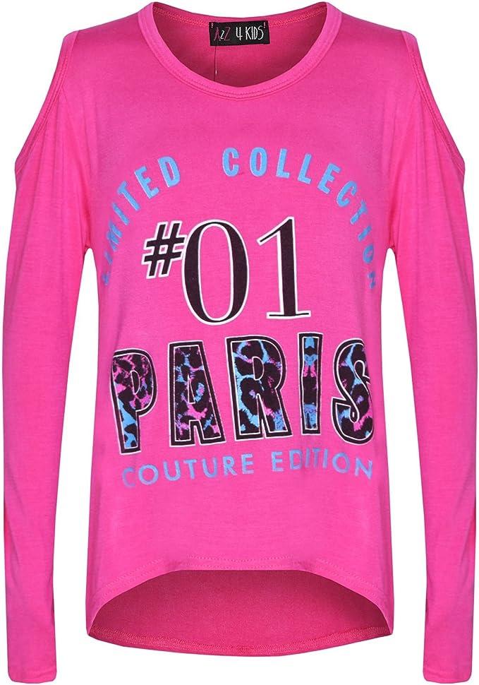Girls Top Kids #01 Paris Print Trendy Top /& Multi Leoaprd Legging Set 7-13 Years