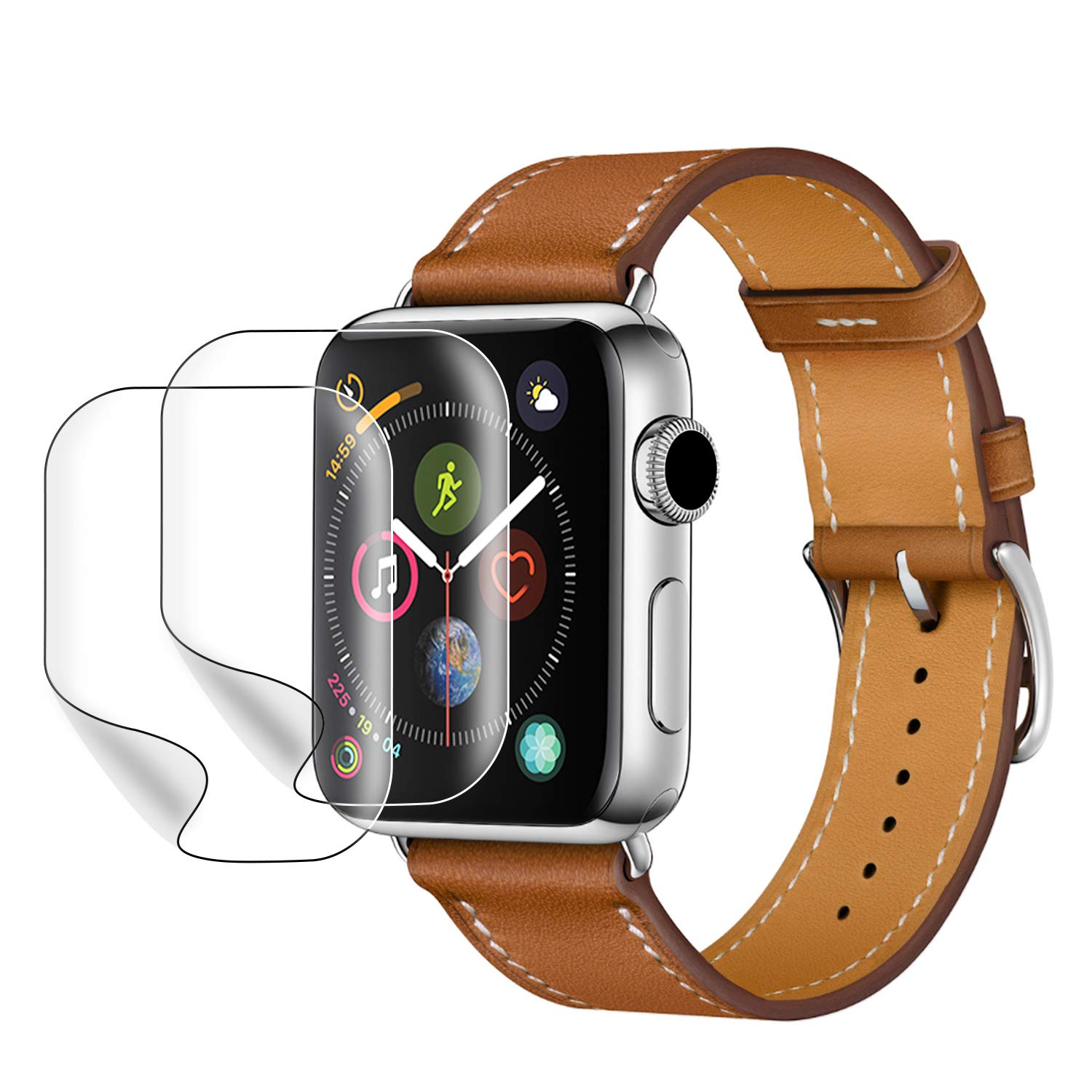 PEYOU Compatible for iWatch Series 4 leather Band 40mm,【2 Pack Screen Protectors for Free】 Top Genuine Leather Band Vintage Replacement Strap Compatible for Apple Watch Series 4 40mm series 3/2/1 38mm by Peyou