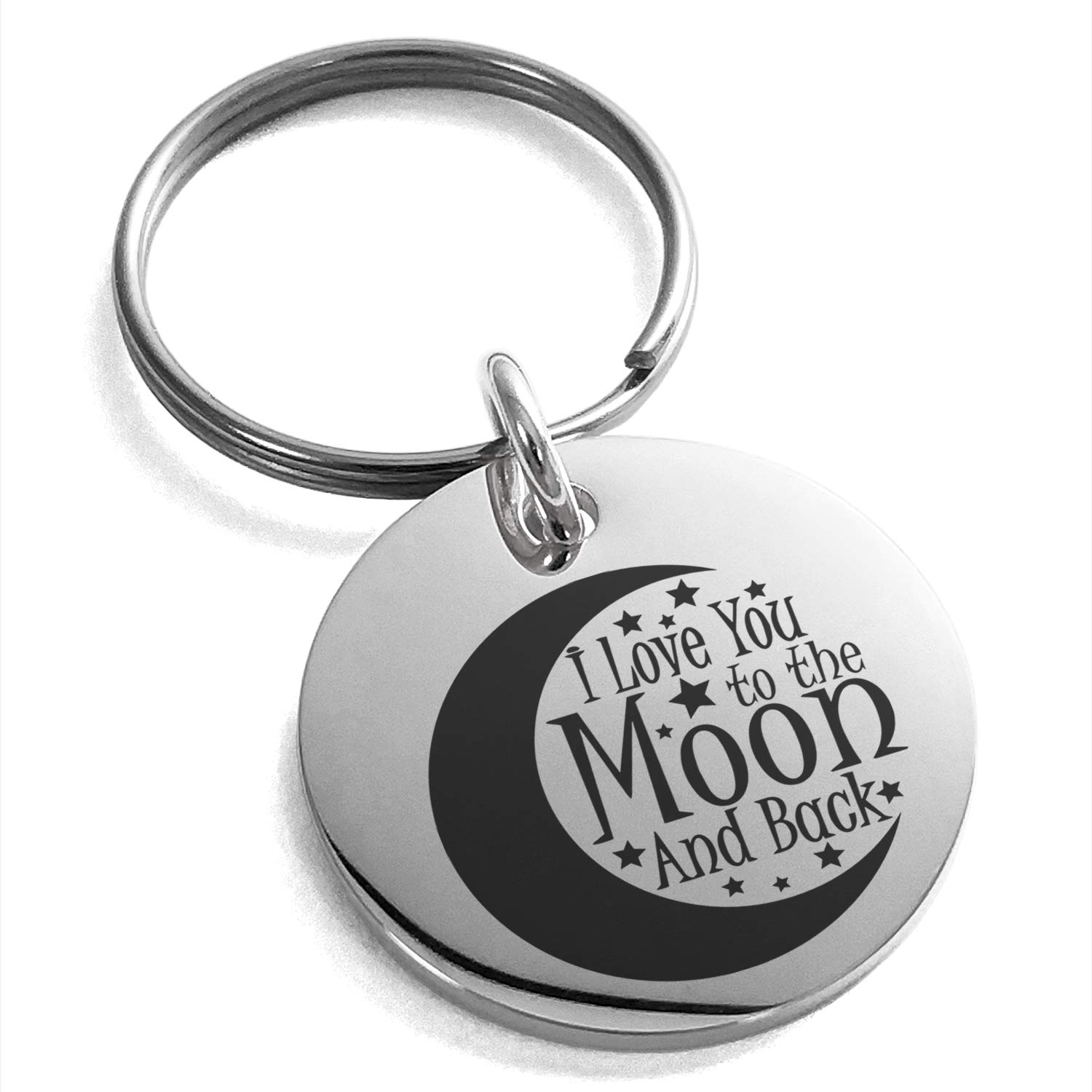 Tioneer Stainless Steel Crescent I Love You to The Moon and Back Engraved Small Medallion Circle Charm Keychain Keyring