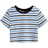Romwe Girl's Casual Striped Short Sleeve Round Neck Rib Knit Crop Tops Tee Shirts