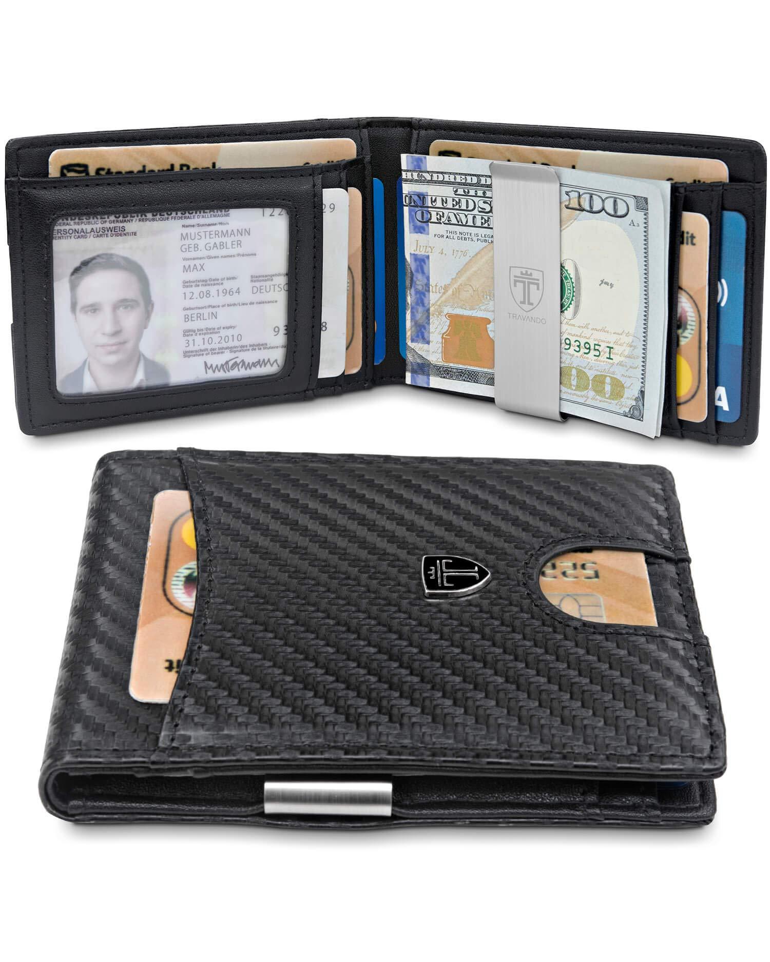 TRAVANDO Slim Wallet with Money Clip SEATTLE RFID Blocking Card Mini Bifold Men (Carbon) by TRAVANDO