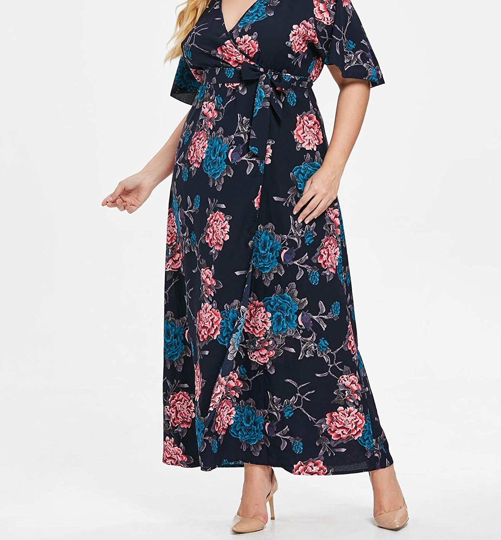 Gooding Day Floral Print Women Half Sleeve V-Neck Boho Long Partyes