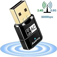 Clé Wifi Adaptateur, Clé USB WiFi Mini AC600 Mbps Double Bande Wireless 5GHz 433Mbps/2.4GHz 150Mbps Sans fil Dongles 802.11n/g/b/a/ac Compatible avec Win 10/8/7/XP/Vista/2000/Mac Os X 10.4-10.12