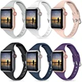 Moolia 6 Packs Sport Band Compatible with Apple Watch Bands 42mm 44mm Women, Slim Soft Silicon Strap Wristband for iWatch Ser