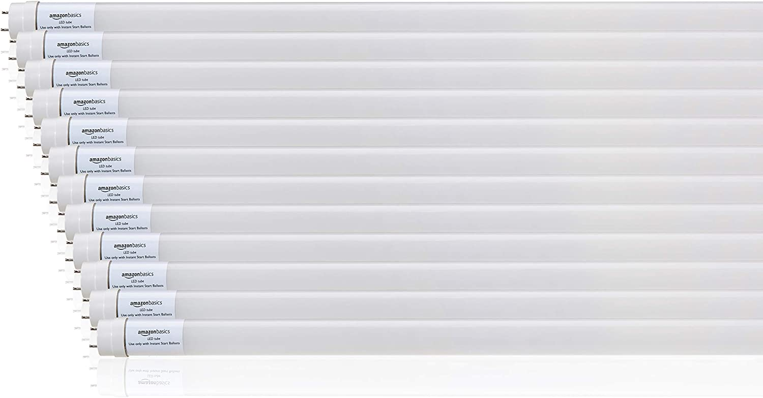 AmazonBasics Commercial Grade LED Tube Light, 4000K, 14W T8 Compatible, Plug and Play, Cool White, 4-Foot, 12-Pack