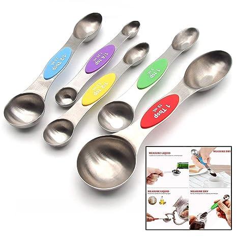 LHKJ 5 Pcs Cucharas Medidoras de Acero Inoxidable para Medir los Ingredientes Secos y Líquidos