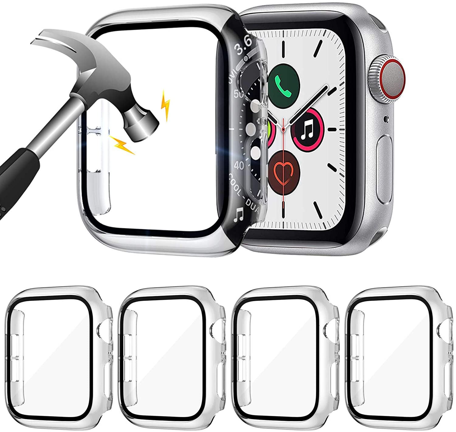ZEBRE 4-Pack Compatible with Apple Watch 44mm Case, with Built-in HD Clear Ultra-Thin Hard PC Screen Protector Cover Compatible with Apple Watch Series 4/5/ 6/SE