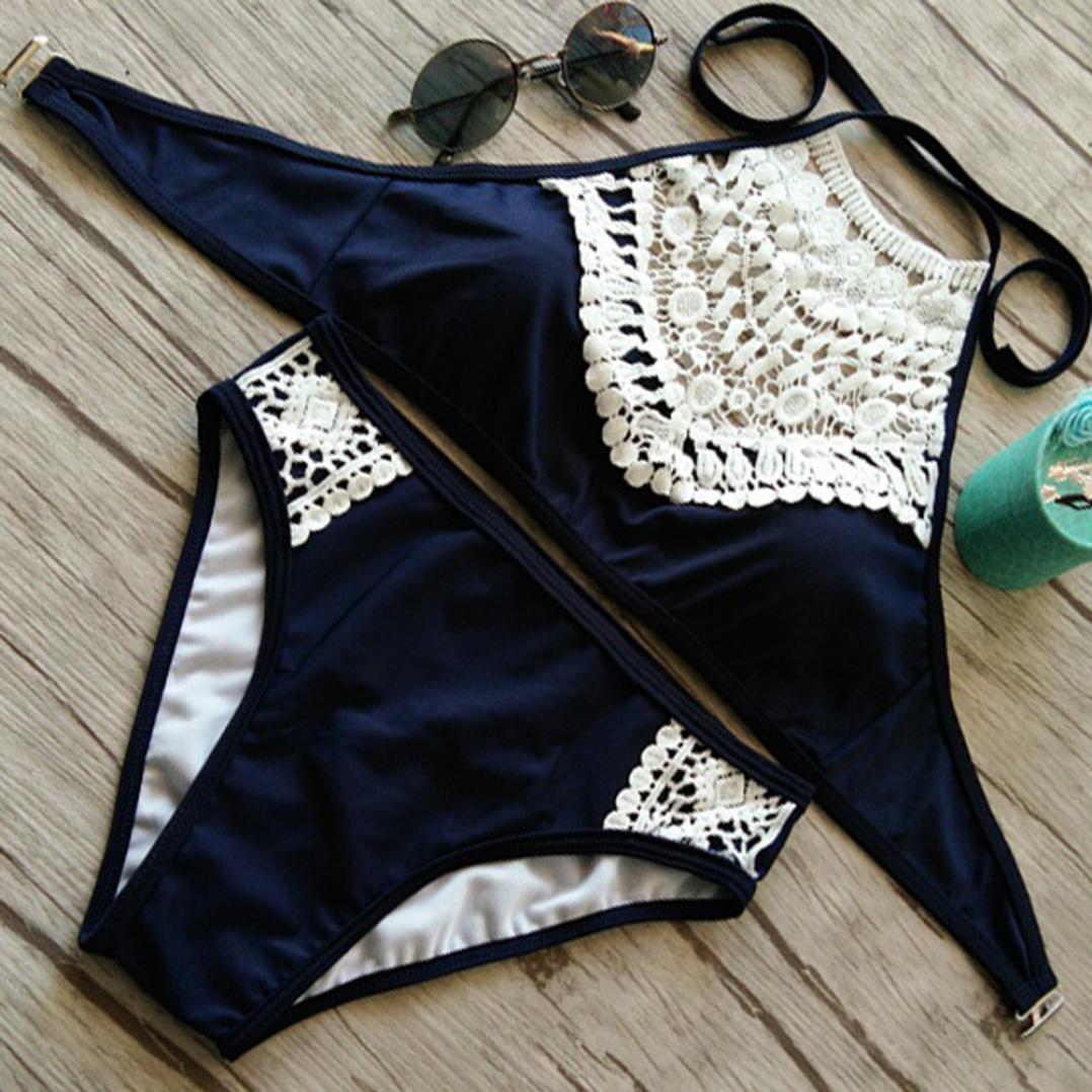 DEELIN Las Mujeres De Encaje Split Beach Push Ups Espesan Sujetador Sexy Bikini Set Beach Swimwear: Amazon.es: Ropa y accesorios