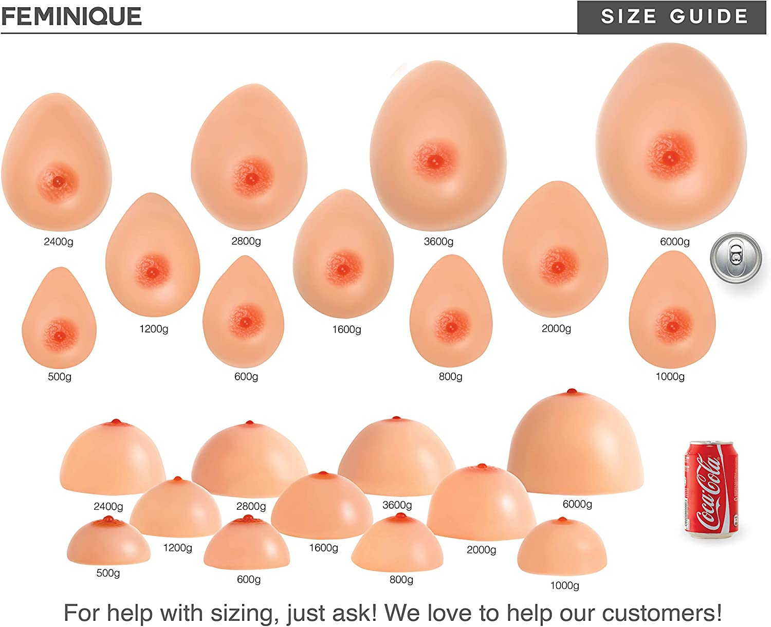 Feminique Silicone Breast Forms Prosthesis Fake Breasts for Crossdressers Mastectomy Transgender and Cosplay Pair