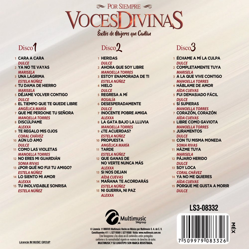 - POR SIEMPRE VOCES DIVINAS EXITO DE MUJERES QUE CANTAN / 3CDS. - Amazon.com Music