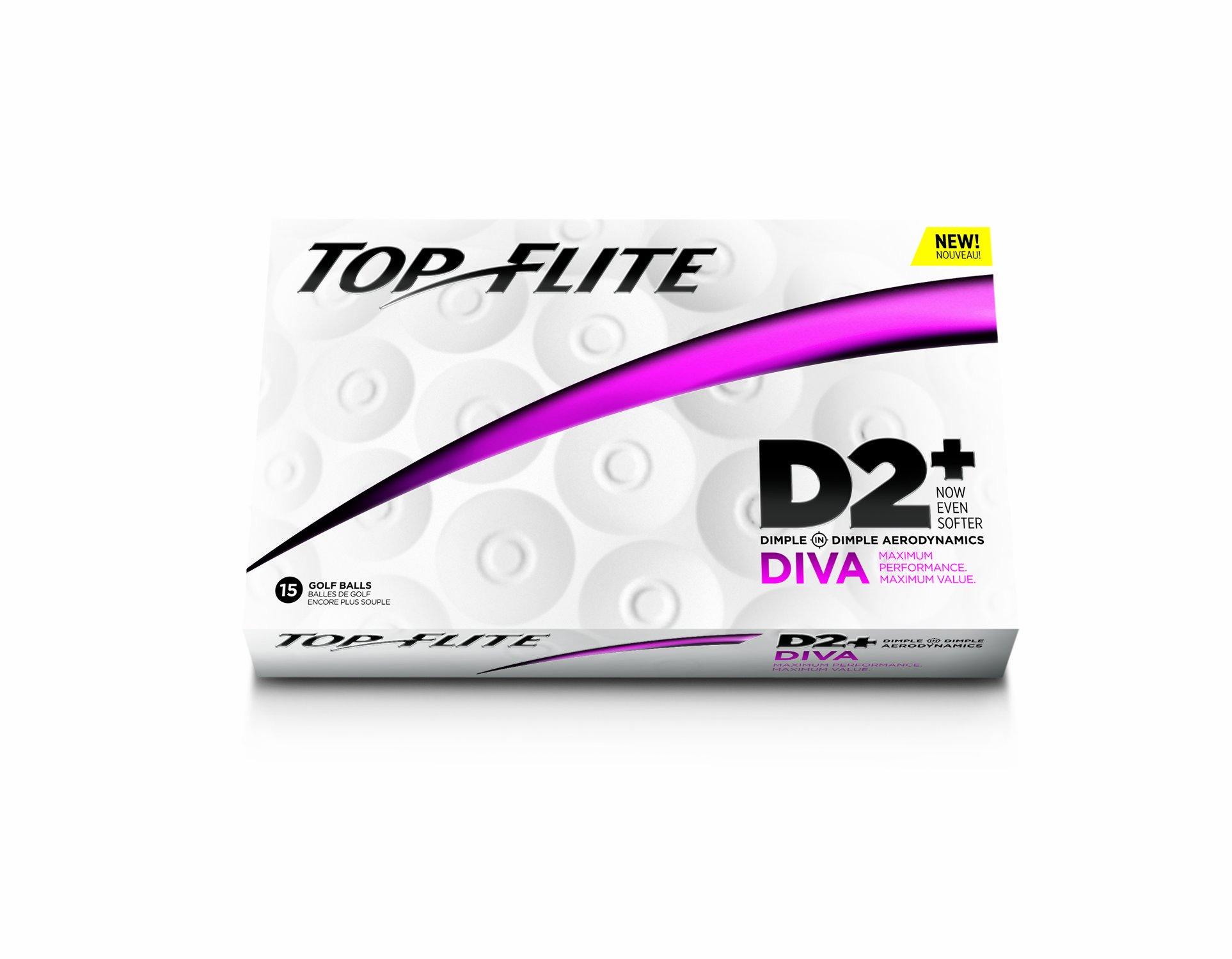 Top-Flite D2+ Diva Golf Balls (15 Pack, White)