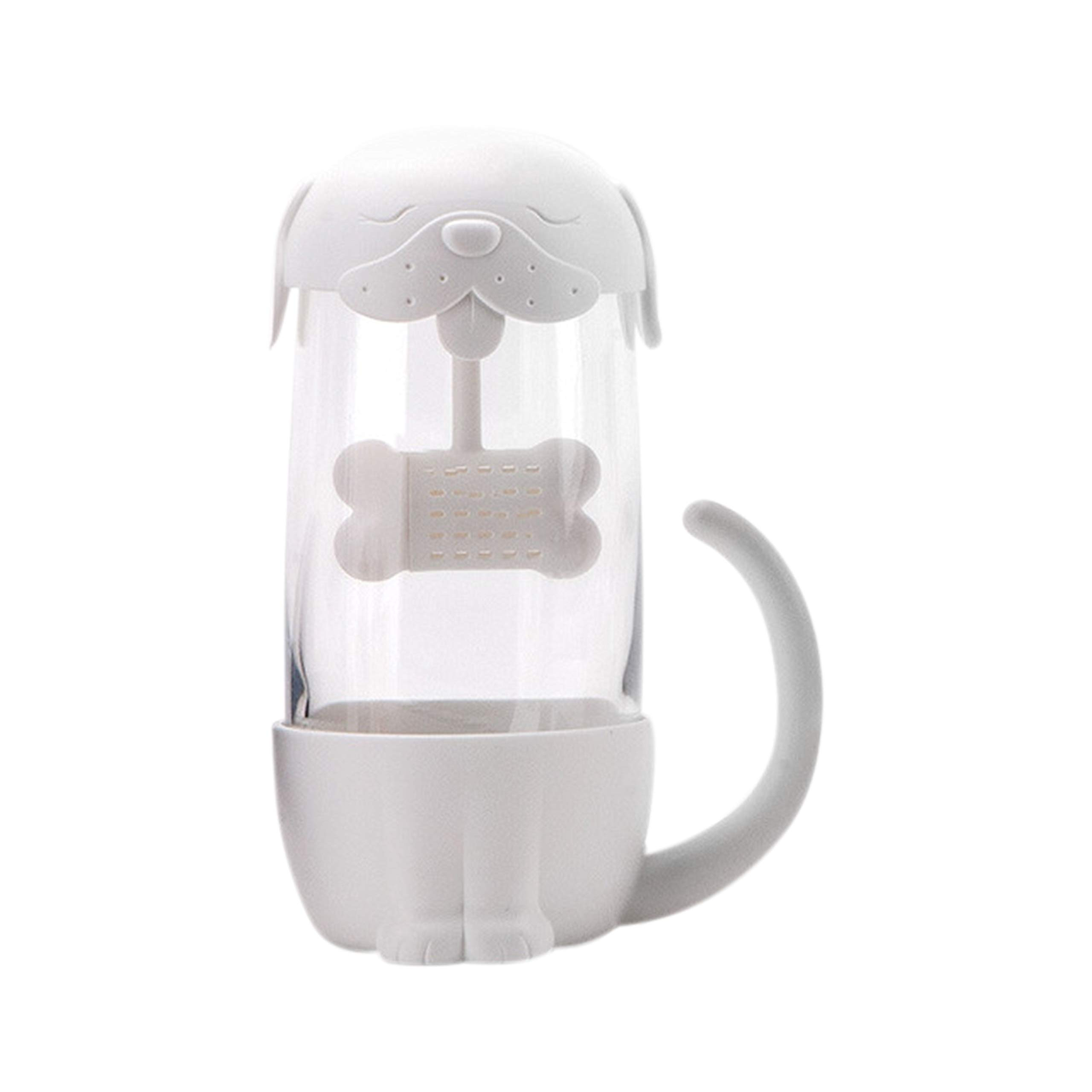 Tea mug with infuser lid cute cat glass tea cups infuser mug teacup cat dog (dog/white) Father's Day Gift