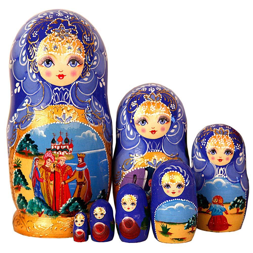 Moonmo 7pcs Beautiful Flower Handmade Wooden Russia Nesting Dolls Gift Russian Nesting Wishing Dolls Matryoshka Traditional by Moonmo