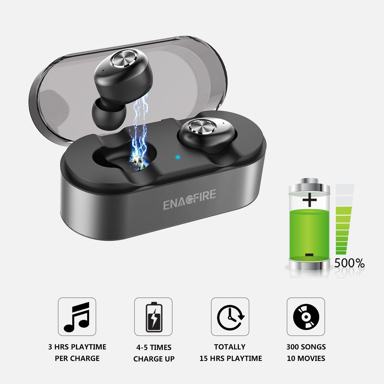 YOYO EnacFire Auriculares inalámbricos, E18 Bluetooth Auriculares 15H Reproducción 3D Estéreo Auriculares In-Ear con Mic, Sport True Wireless Auriculares ...