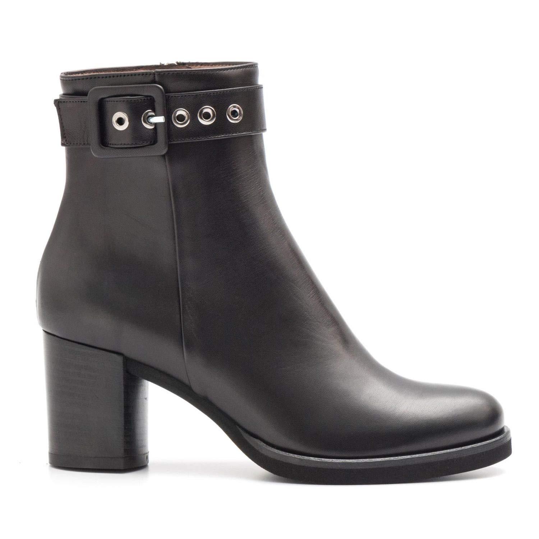 Schwarz SANGIORGIO - Medium Block Heel Ankle Stiefel in schwarz Leather - 6068TR 36160PIUMA schwarz