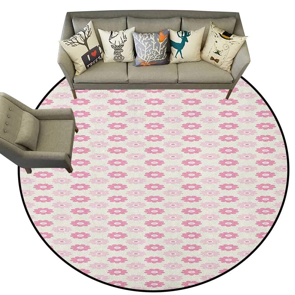 Style08 Diameter 54(inch& xFF09; Geometric,Personalized Floor mats Pastel Toned Abstract Floral Arrangement Feminine Romantic Pattern D54 Floor Mat Entrance Doormat