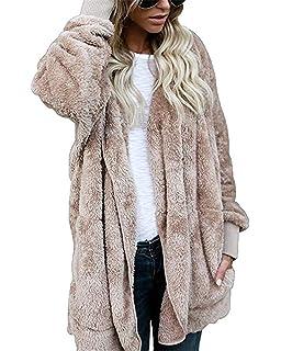 Women Fuzzy Fleece Jacket Open Front Hooded Outwear Pockets