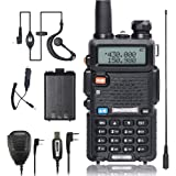 BaoFeng Walkei Talkie UV-5R Dual Band Two Way Radio with one more 1800mAh UV5R Battery one Car Charge one Hand Mic. and one TIDRADIO NA-771 Antenna ham radio