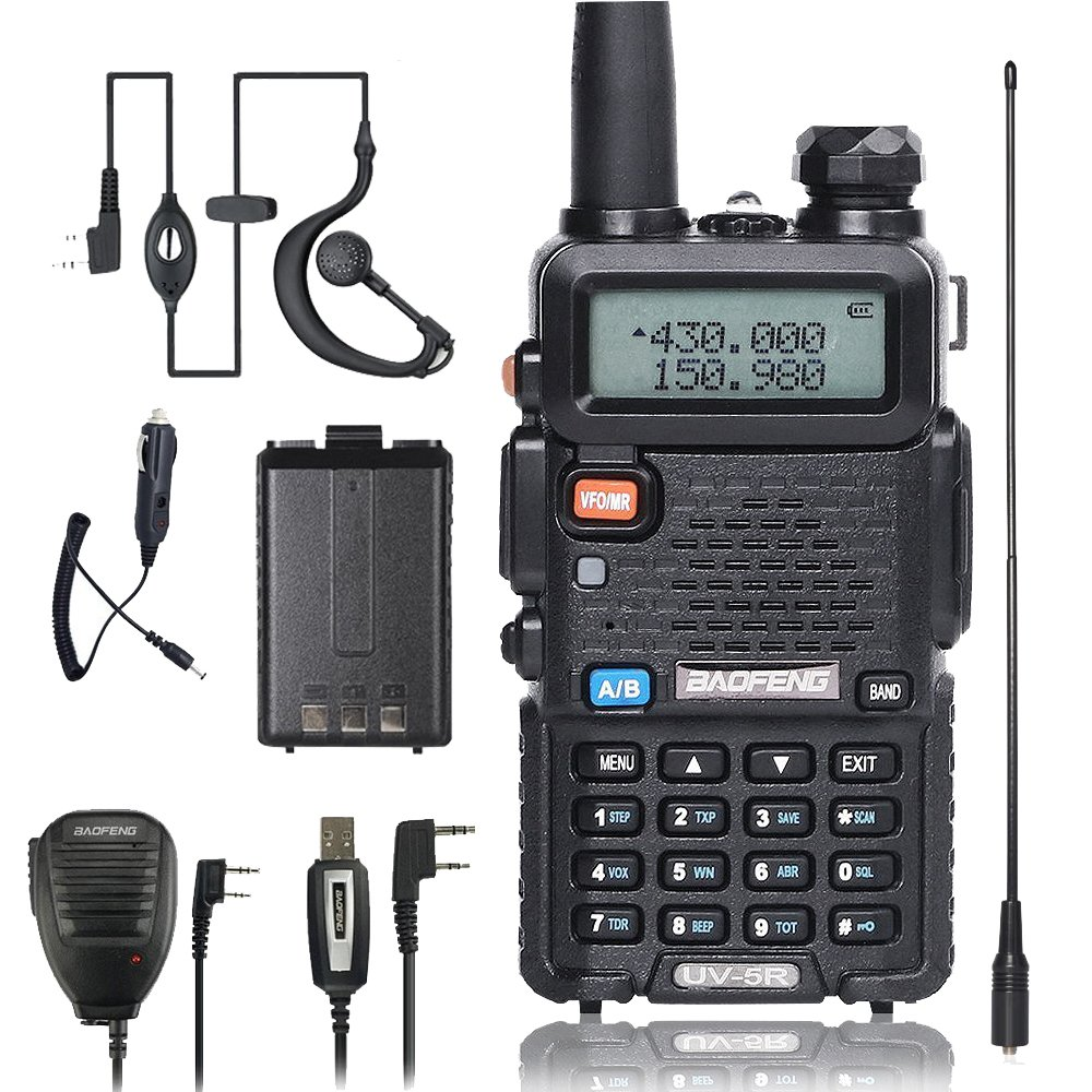 BaoFeng Walkie Talkie UV-5R Dual Band Two Way Radio with one more 1800mAh UV5R Battery one Car Charge one Hand Mic and one TIDRADIO NA-771 Antenna ham radio WT-5352