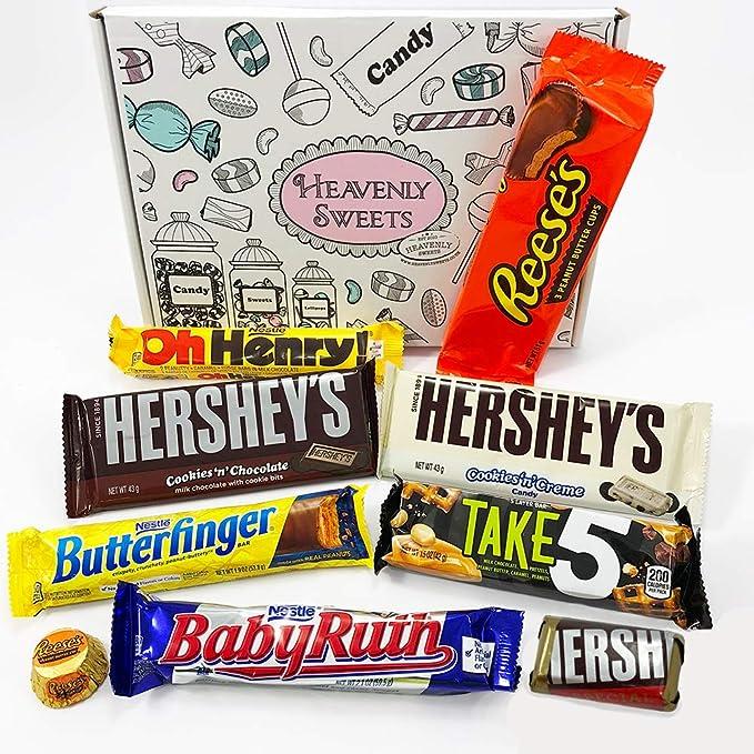 Mini Cesta Chocolate Americano| Surtido incluye Reeses Hershey Butterfinger | Golosinas para Navidad Reyes o