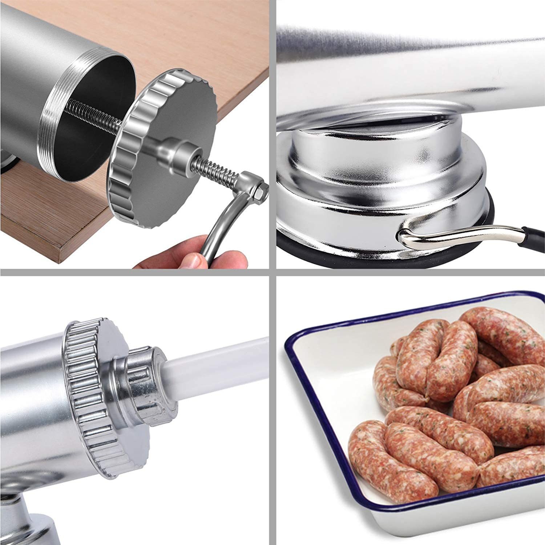 Wurstf/üller Edelstahl Mahlmaschine 2,3 kg Fleisch Filler Maker Kit mit 4 Gr/ö/ßen Professionelle F/ülld/üsen