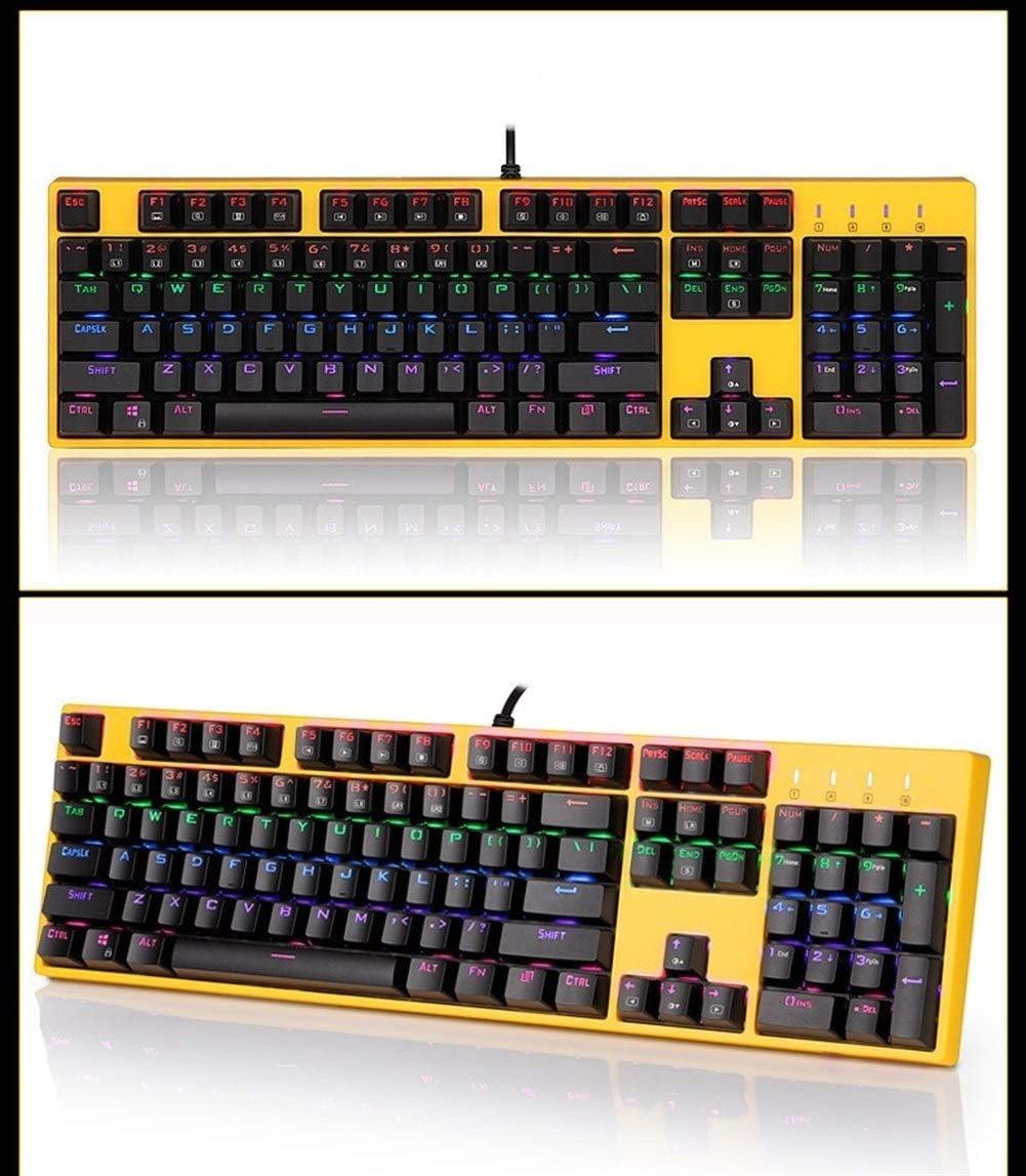 WXX QQBH X8100 Gaming Keyboard, 104 Touche Verte Axe Filaire Clavier mécanique, étanche et Anti-poussière, Interchangeable Arbre (Color : Yellow) Yellow
